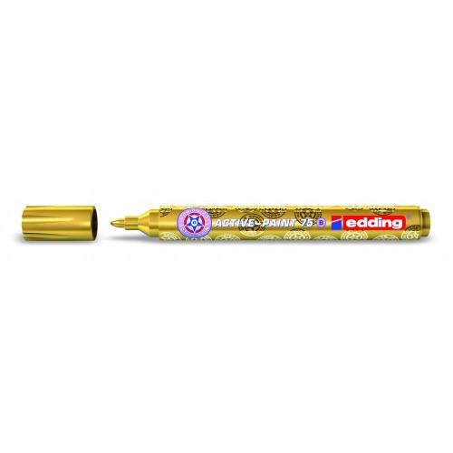 Маркер лаковый глянцевый Edding (Эддинг) 75, круглый наконечник, 2-3 мм, золотой 053