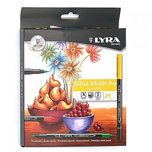 Набор профессиональных акварельных фломастеров Lyra Aqua Brush двусторонние, 24 цвета, арт.L6521240
