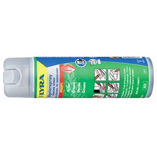 Маркировочный спрей Lyra для профессионального применения в строительстве и лесной промышленности, светло-зеленый, 500 мл, арт.L4180071