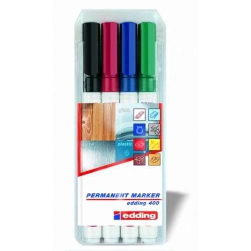 Набор маркеров перманентных Edding (Эддинг) 400, круглый наконечник, 1 мм, 4 шт/уп, блистер