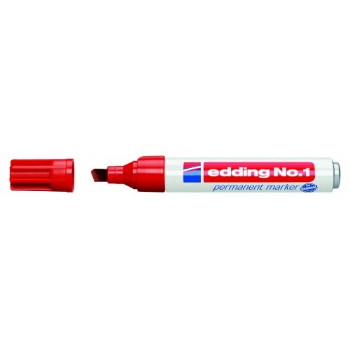 Маркер перманентный промышленный Edding (Эддинг) 1, клиновидный наконечник, 1-5 мм, красный 002