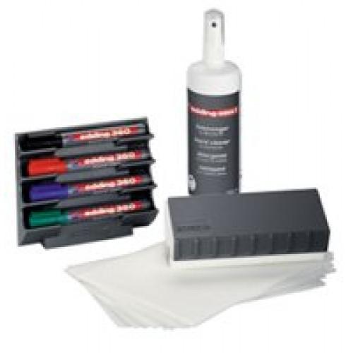 Набор аксессуаров для эмалевых досок Edding (Эддинг) BMA 15S, 4 маркера, стиратель, очиститель