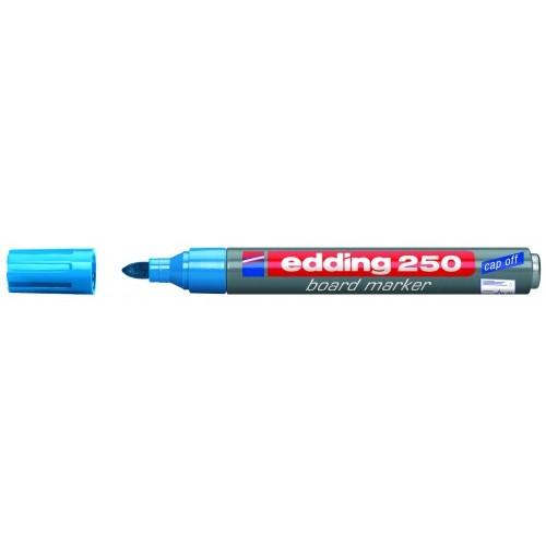 Маркер для эмалевых досок Edding (Эддинг) 250, круглый наконечник, 1,5-3 мм, голубой 010