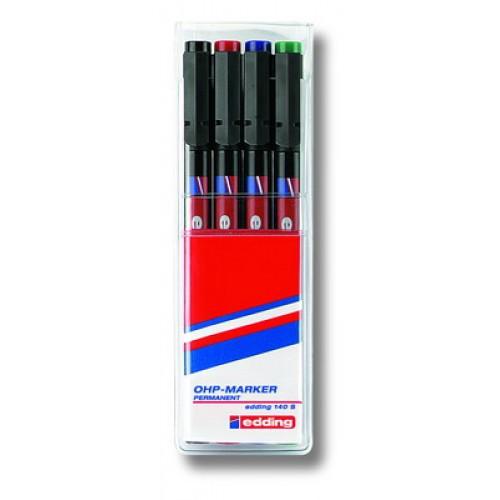 Набор маркеров для проекторных пленок Edding (Эддинг) 140S, круглый наконечник, 0,3 мм, 4 шт/уп