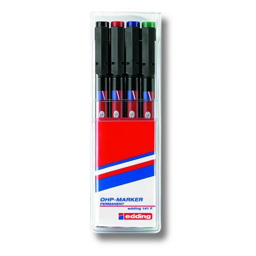 Набор маркеров для проекторных пленок Edding (Эддинг) 142M, круглый наконечник, 1 мм, 4 шт/уп