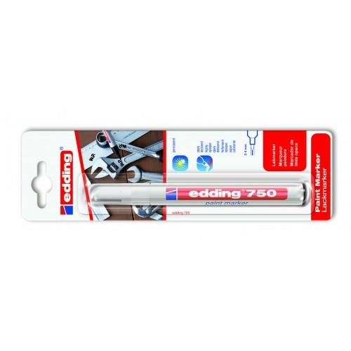 Маркер лаковый промышленный Edding (Эддинг) 750 Industry, круглый наконечник, 2-4 мм, белый 049, блистер