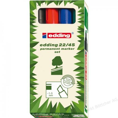 Набор маркеров перманентных Edding (Эддинг) 22 EcoLine, скошенный наконечник, 1-5 мм, 4 цвета