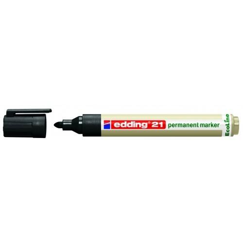 Маркер перманентный Edding (Эддинг) 21 EcoLine, круглый наконечник, 1,5-3 мм, черный 001