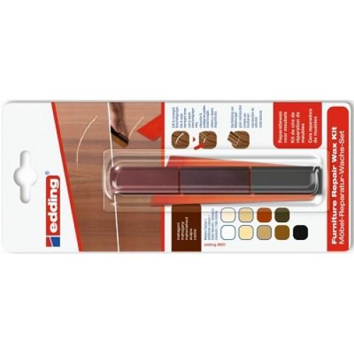 Воск для ремонта мебели Edding (Эддинг) 8902, красное дерево 604, 3шт/уп, блистер, термо