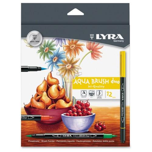 Набор профессиональных акварельных фломастеров Lyra Aqua Brush двусторонние, 12 цветов, арт.L6521120