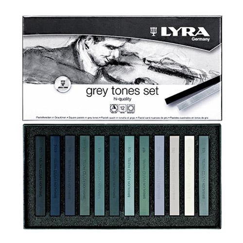 Набор пастельных мелков Lyra Polycrayons Soft, в серых тонах, 12 шт, арт.L5641122