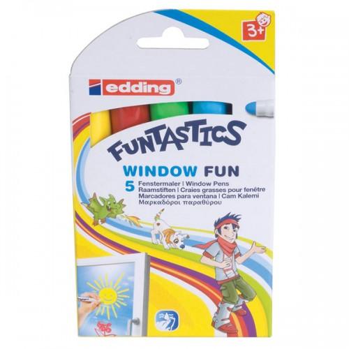 Набор фломастеров меловых  для окон Edding (Эддинг) 16 Fun, смываемый, 2-6 мм, 5 цветов, картонная коробка